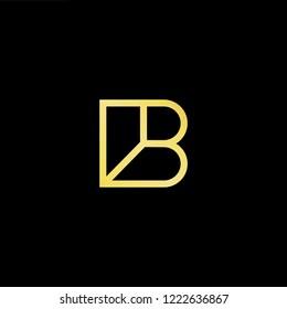 Initial letter B BB minimalist art logo, gold color on black background.