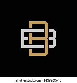 Initial letter B and B, BB, overlapping interlock logo, monogram line art style, silver gold on black background