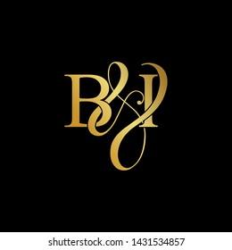 Initial letter B & I BI luxury art vector mark logo, gold color on black background.