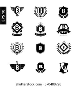 Initial Letter B Black Logo with Shield Design Template Set