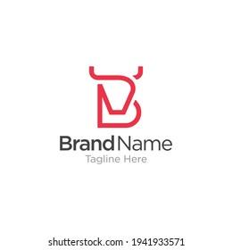 Initial letter B with Bull logo concept, head buffalo, bull, cow, angus, vector logo for company