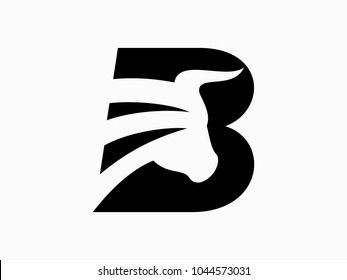 Initial Letter B with bulls Design Logo Vector Graphic Branding Letter Element.