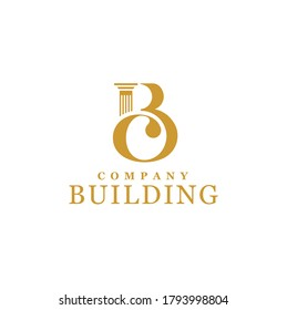 Initial Letter B C Monogram BC CB with Greek pillar column for architecture building construction government office logo design