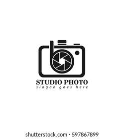 Initial Letter B Camera Logo Design Template for Creative Photo Studio Black