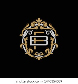 Initial letter B and F, BF, FB, decorative ornament emblem badge, overlapping monogram logo, elegant luxury silver gold color on black background