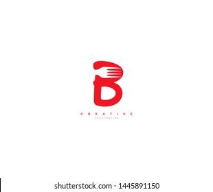 initial letter B fork creative minimal logo