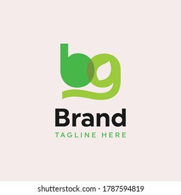Initial letter b and g in green for environment nature brand vector logo template