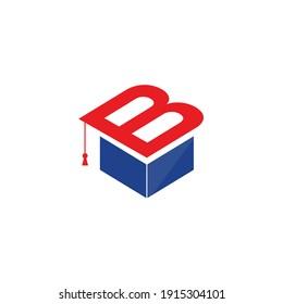 Initial Letter B with Graduation Hat logo concept, student, cap, hat, graduate, vector logo design