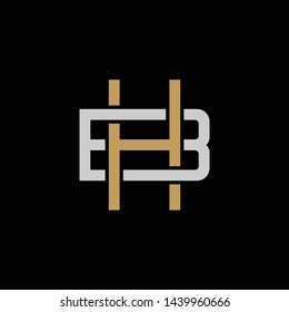 Initial letter B and H, BH, HB, overlapping interlock logo, monogram line art style, silver gold on black background