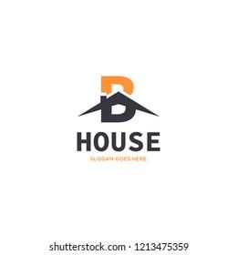 Initial Letter B House Real Estate Logo Design