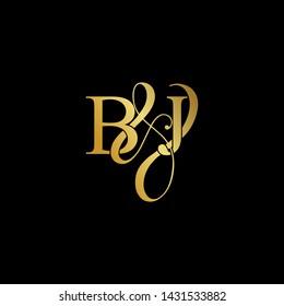 Initial letter B & J BJ luxury art vector mark logo, gold color on black background.
