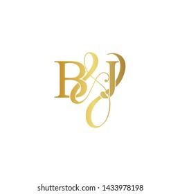 Initial letter B & J BJ luxury art vector mark logo, gold color on white background.