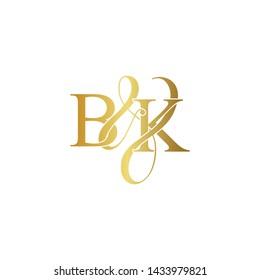Initial letter B & K BK luxury art vector mark logo, gold color on white background.