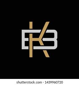 Initial letter B and K, BK, KB, overlapping interlock logo, monogram line art style, silver gold on black background