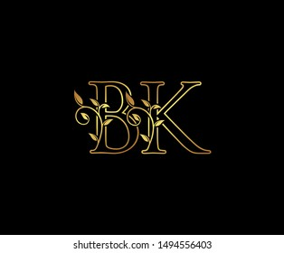 Initial letter B and K, BK, Gold Logo Icon,   classy gold letter monogram logo icon suitable for boutique,restaurant, wedding service, hotel or business identity.