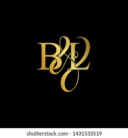 Initial letter B & L BL luxury art vector mark logo, gold color on black background.