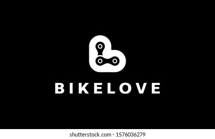 initial letter B and L with heart or love and bike chain logo design template