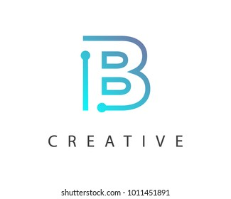 Initial Letter B logo Connected circle symbol. Design Template Element