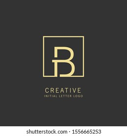Initial letter b logo design vector dark concept with square element
