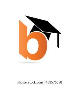 Initial Letter B Lowercase Font With Graduation Cap Orange