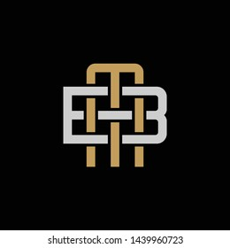 Initial letter B and M, BM, MB, overlapping interlock logo, monogram line art style, silver gold on black background