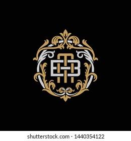 Initial letter B and M, BM, MB, decorative ornament emblem badge, overlapping monogram logo, elegant luxury silver gold color on black background