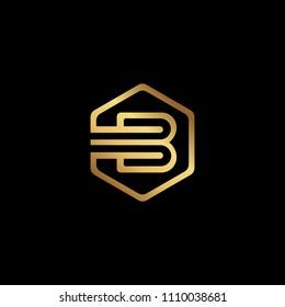 Initial letter B minimalist art hexagon shape logo, gold color on black background