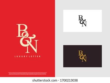Initial letter B & N BN luxury art vector mark logo template.