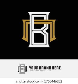 Initial letter B, N, BN, or NB overlapping, interlock, monogram logo, white and gold color on black background