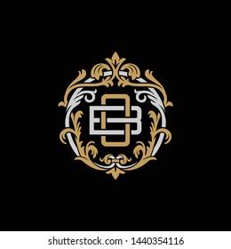 Initial letter B and O, BO, OB, decorative ornament emblem badge, overlapping monogram logo, elegant luxury silver gold color on black background