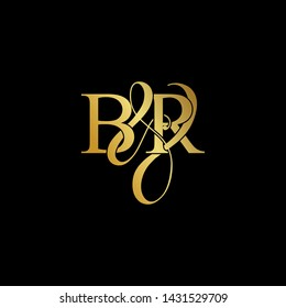 Initial letter B & R BR luxury art vector mark logo, gold color on black background.