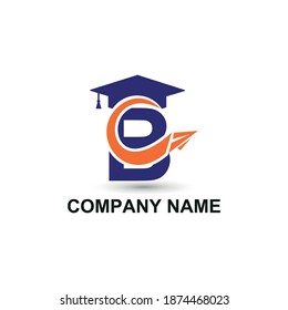 Initial letter B with toga hat  graduation gown and paper plane flying around for education academy logo concept