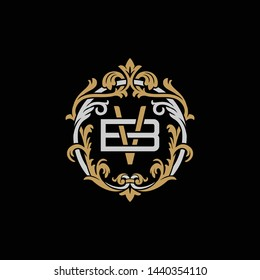 Initial letter B and V, BV, VB, decorative ornament emblem badge, overlapping monogram logo, elegant luxury silver gold color on black background