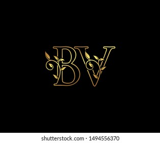 Initial letter B and V, BV, Gold Logo Icon,   classy gold letter monogram logo icon suitable for boutique,restaurant, wedding service, hotel or business identity.