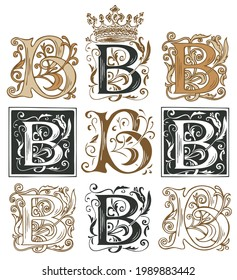 Initial letter B with vintage baroque ornamentation. Vector illustrations of uppercase letter B with decorations. Beautiful filigree capital letter to use for monogram, icon, emblem, invitation, logo