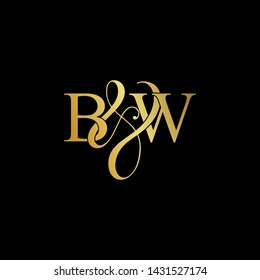 Initial letter B & W BW luxury art vector mark logo, gold color on black background.