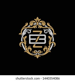 Initial letter B and Z, BZ, ZB, decorative ornament emblem badge, overlapping monogram logo, elegant luxury silver gold color on black background