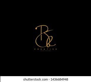 Initial Letter Bb Logo Manual Gold Elegant Minimalist Signature Logo