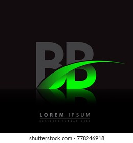 initial letter BB logotype company name colored green and black swoosh design. vector logo for business and company identity.