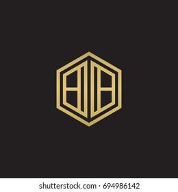 Initial letter BB mirror, minimalist line art hexagon logo, gold color on black background