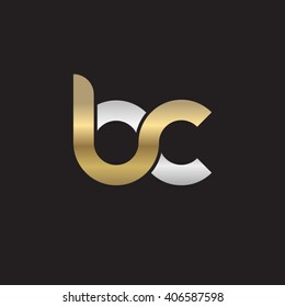 initial letter bc linked circle lowercase logo gold silver black background