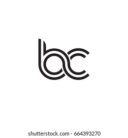 Initial letter bc, linked outline rounded lowercase, monogram black