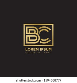 Initial Letter BC linked uppercase overlap modern gold logo vector design template. Suitable for business, consulting group company.