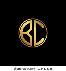 Initial letter BC, minimalist line art monogram circle shape logo, gold color on black background