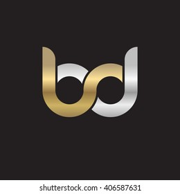 initial letter bd linked circle lowercase logo gold silver black background