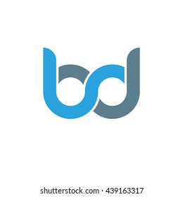 initial letter bd linked round lowercase logo blue