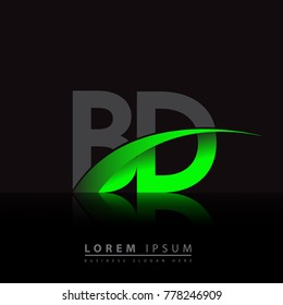 initial letter BD logotype company name colored green and black swoosh design. vector logo for business and company identity.