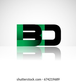 Initial letter BD uppercase modern and simple logo linked green and black colored, isolated in white background. Vector design for company identity.