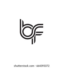 Initial letter bf, linked outline rounded lowercase, monogram black