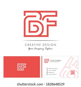 Initial letter BF Letter Logo Design with creative modern name card vector Illustration. BF Letter Logo Concept Ready For Use. Initial letter BF logo vector design template.
